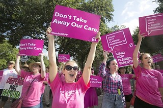 Protesters in support of Planned Parenthood demonstrate as a hearing on the sale of fetal tissue is held at the Texas State Capitol in July.