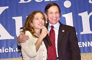 U.S. Rep. and Democratic presidential candidate Dennis Kucinich was joined by musician Ani DiFranco during an Austin whistle-stop Tuesday for Kucinich's Formal Announcement Tour. Kucinich told the crowd, We are now a peace movement that will change the nature of politics in America. For more, see p.20.