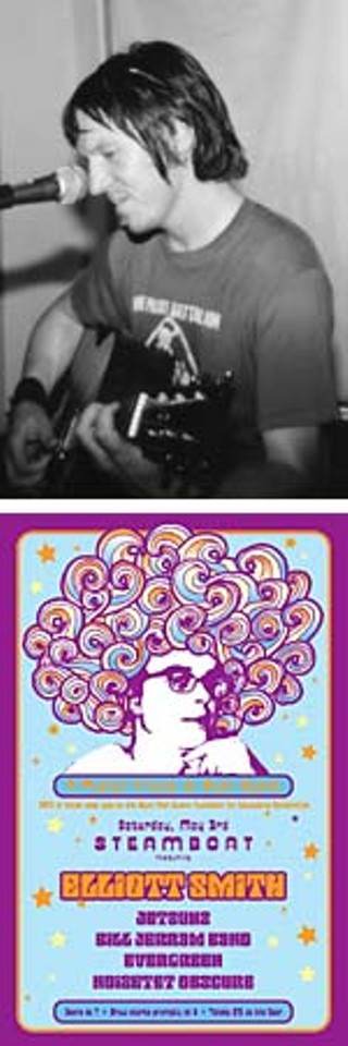 top: Elliott Smith at Waterloo Records, 9/98; bottom: poster for the Steamboat show