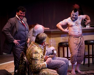 (l-r) Brian Coughlin, Michael Stuart, David Stahl, and Ben Wolfe in Austin Playhouse's production of The Explorers Club