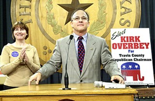 Kirk Overbey announces his candidacy for the chairmanship of the Travis Co. Republican Party at the state Capitol Wednesday morning.