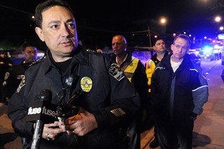 Chief Art Acevedo addressing reporters after Rashad Owens drove through a crowd gathered on Red River Street during SXSW 2014.