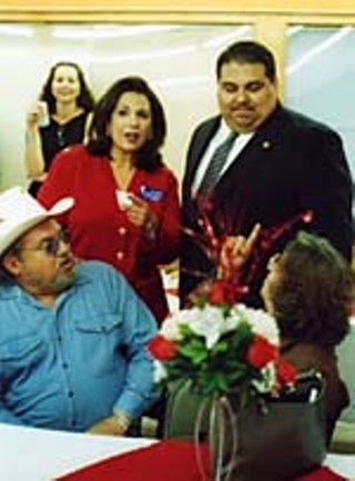 Leticia Hinojosa (middle left) campaigning with state Rep. Ryan Guillen, D-Rio Grande City