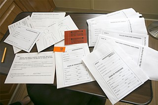 A blank rape kit (or sexual assault forensic exam)