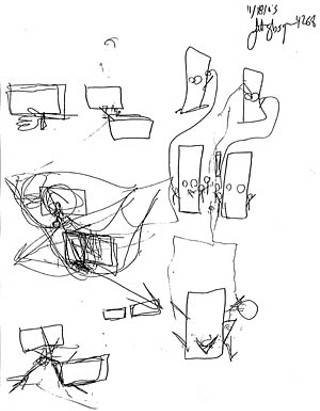 A series of sketches drawn by Officer Scott Glasgow during a November interview with Internal Affairs detectives. Glasgow's sketches illustrate the position of his patrol car relative to the Neon, the tactical advantage that positioning offered should Owens decide to flee, and an example of an ideal high-risk traffic stop where multiple officers are present.