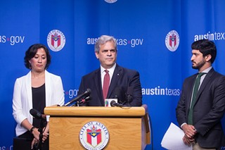Mayor Steve Adler, flanked by Council members Delia Garza and Greg Casar, held a press conference at City Hall in June to denounce SB 4.