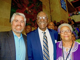 Berl Handcox (center) with Council Members Jimmy Flannigan (left) and Ora Houston (right)