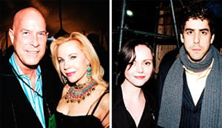 left: My new best friends, the dashing Angus Wynne III (his father, Angus Wynne II, founded the profitable Six Flags Over Texas) and the beautiful Carolyn Farb, a social and fundraising icon who is graciousness personified and smart as a whip; right: Christina Ricci, sans barbecue sauce (<i>What?</i> my <i>still</i> goth friend Neil moaned. <i>Why</i> didn't you introduce me to her? She's a goth <i>icon</i>!), and actor/director Adam Goldberg, both of whom will be making the SXSW scene
