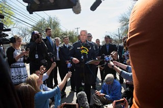 Police Chief Brian Manley speaks with reporters last week at Galindo Street. Last night's bombing was the fourth such occurrence in two weeks.