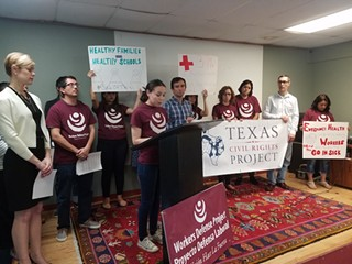 Mayra Huerta, Austin Campaign Manager for the Workers Defense Project, speaks at a press conference last Friday about the organization's intervention.