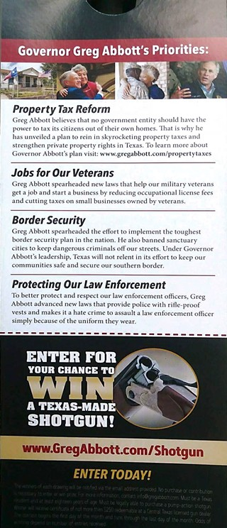 A photo of the flier for Abbott's suspended campaign to win a shotgun