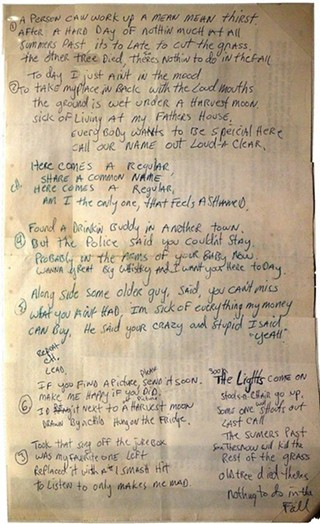 "Paul Westerberg's handwritten lyrics to the Replacements' ""Here Comes a Regular"""