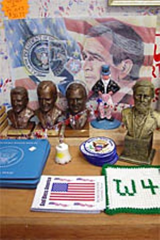 Items on display at the Yellow Rose gift shop in Crawford, Texas, home of the Texas White House. Busts of (l-r): Ronald Reagan, George H.W. Bush, George W. Bush, Uncle Sam squatting, and Robert E. Lee (!).