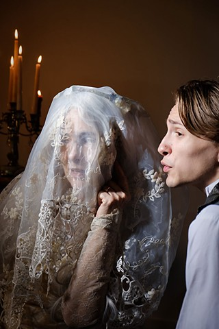 Margaret Hoard (l) as Miss Havisham and Weston Smith as Pip