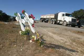 Crosses mark the spot where the Jacobsons died on 