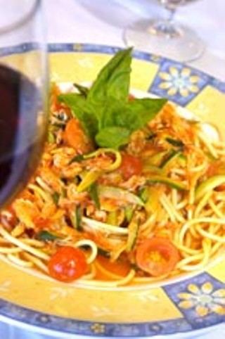Granchio Spaghetti with crab meat, zucchini, and 