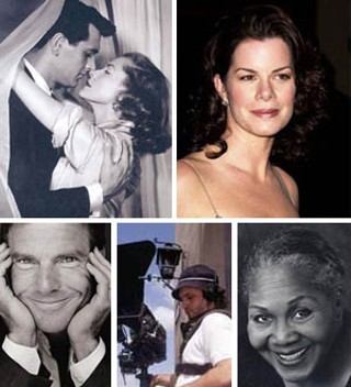 Clockwise from top left: Lauren Bacall with Rock 