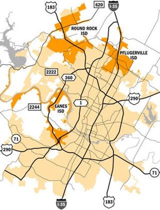 Austin voters will decide May 7 whether residents in the darker-shaded areas shown above will join the ACC taxing district.