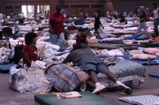 Evacuees from Hurricane Katrina poured into shelters 