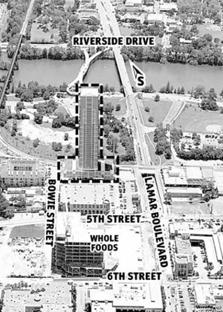This illustration depicts what the Spring tower (outlined) would look like, imposed upon an aerial photo of the Sixth and Lamar area. Residents of the Old West Austin neighborhood, west of Lamar, question whether the building is too tall for what they consider a transition area between Downtown and their houses.