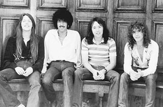 Soldiers of Fortune, Lizzy's classic lineup (l-r): Scott Gorham, Phil Lynott, Brian Downey, Brian Robertson, circa 1976