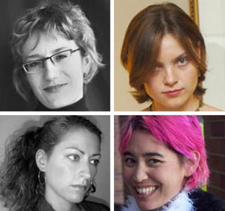 Clockwise from top left: danah boyd, Irina Shklovski, Amanda Williams, and Jane McGonigal