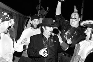 Our next governor, Kinky Friedman, and the Jolly Garogers in the Winners' Tent at the Austin Music Awards