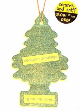 The makers of the Little Tree car air freshener were not amused by this gift card parody by Austin's Corndog Cards & Novelties.