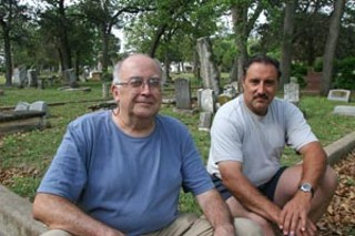 Saves Austin's Cemeteries' Danny Camacho and Dale Flatt at Oakwood Cemetery