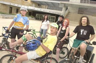 A variety pack of Austin cyclists outside City Hall. From 