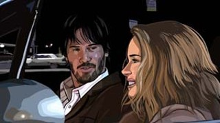 Keanu Reaves (as Bob Arctor) and Winona Ryder (as Donna Hawthorne) have an animated conversation in <i>A Scanner Darkly</i>.