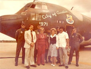 "Late Seventies ceremony dedicating ""City of Austin"" jet, Bergstrom Air Force Base (now ABIA). Civilians in first row (l to r): council members Richard Goodman, Betty Himmelblau, Mayor McClellan, John Treviño<br>