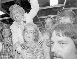 Spring, 1981:  Mayor McClellan celebrates election to her third term, with her mother Madge Keeton and three sons – Scott (left), Mark (right center) and Brad McClellan (nearly hidden between Carole and Mark).<br>
