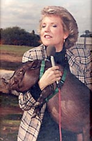 Carole Keeton Rylander and potbellied pig on the <i>Rylander Report</i> cable TV show, early Nineties