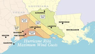 According to the National Weather Service, Rita was the strongest hurricane to strike Southeast Texas and Southwest Louisiana since Hurricane Audrey in June 1957. <br>