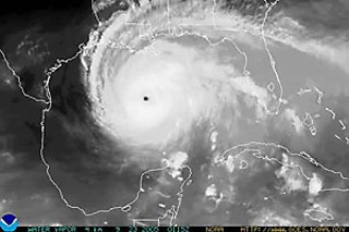 Hurricane Rita as it approached landfall, Sept. 24, 2005. After landfall, the storm's winds extended over Louisiana, Mississippi, Arkansas, and large parts of Texas and Oklahoma.
