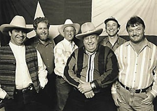 The John Deere Tractor Song (l-r): Phillip Fajardo, Kalish, Keeling, Walser, Floyd Domino, and Scott Walls, the classic Pure Texas Band lineup