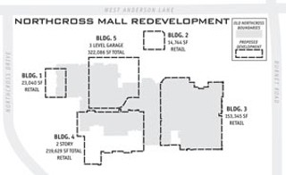 Site plans filed by Lincoln Properties with the city call for the ghostly Northcross Mall to be split up into five buildings, including a massive three-story parking garage.<br><a href=http://www.austinchronicle.com/issues/dispatch/2006-10-06/Northcross.jpg target=blank><b>View a larger image</b></a>