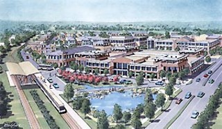 This artist's rendering, although based on an early (and since altered) version of engineering plans, gives an idea of how the transit-oriented development at Crestview Station might appear. The view looks northward; the street on the right is Lamar, near its intersection with Airport Boulevard.<br><a href=http://www.austinchronicle.com/issues/dispatch/2006-10-06/render1.jpg target=blank><b>View a larger image</b></a>