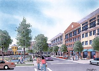Artist conception of Crestview Station's mixed-use structures nearer the station platform