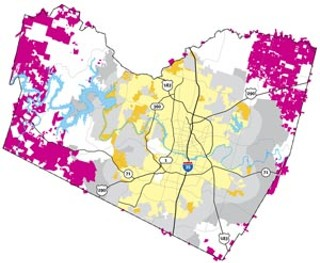 Qualifying Properties: Tracts shown in magenta would be eligible for CDO incentives; all are ag-exempt parcels in unincorporated areas of Travis County. If Austin (yellow) were to extend the program to ETJ areas (gray) it controls, the potential to conserve open space would be even greater.<br>