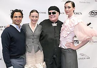 (l-r): Designer Zac Posen, model Lizzie Jagger, Mrs. Thurston Howell III, and model Erin O'Connor before the AMOA benefit A Look for Love.