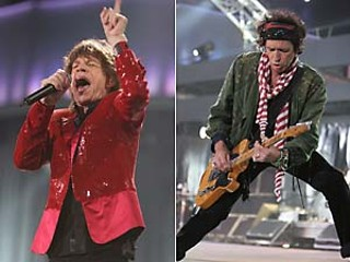 Glimmer Twins still: Jagger (l) and Richards