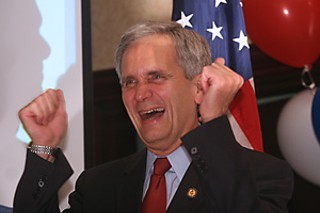 Victory: U.S Rep. Lloyd Doggett partied down Wednesday 