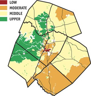Household Income Distribution: The CTSIP report provides numerous maps and charts illustrating particular aspects of demographic, economic, and social indicators. This map shows the geographic distribution of household income, which largely echoes the racial and ethnic demographic regional map. The report notes, The region has a clear East-West geographic pattern of income distribution that spans the entire region and which is mirrored by patterns in many other indicators of equity and economy.
