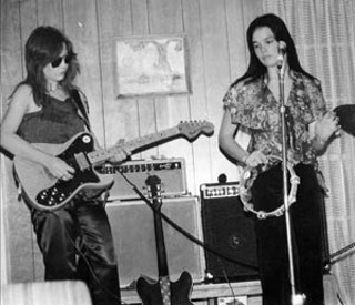 Pre-Violators Kathy Valentine and Marilyn Dean practice in their first band at Greenbriar