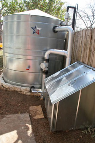 Water and energy consumption can both be reduced by a rainwater-harvesting system, like this one installed on the remodeled Craftsman bungalow featured on <b>This Old House</b>, owned by Michele Grieshaber and Michael Klug.