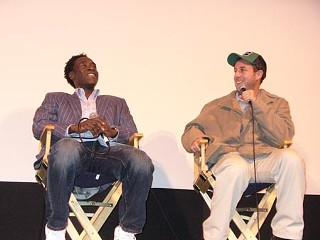Don Cheadle (l) and Adam Sandler after a special SXSW screening of <i>Reign Over Me</i>, March 14 at the Paramount Theatre