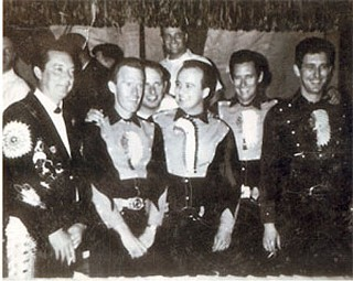 Ray Price & the Cherokee Cowboys: Price, Red Hays, Pete Burk Jr., Bush, Charlie Harris, and Buddy Emmons in Moulton Ala., 1964