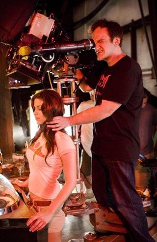 Vanessa Ferlito and Quentin Tarantino on the set of 'Death Proof'
